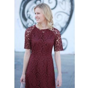madewell   magnolia lace cocktail dress burgundy 8